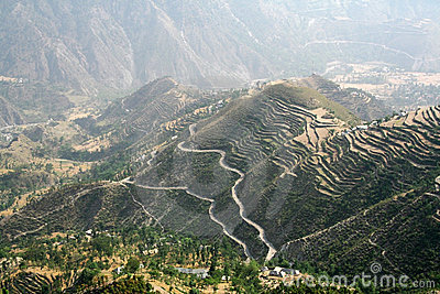 Aerial view of remote region in himachal India