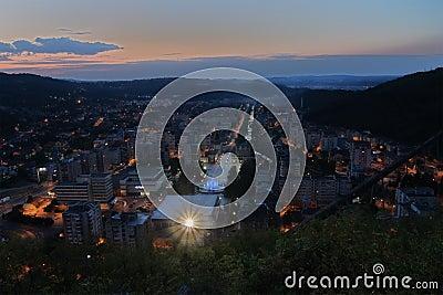 Aerial view of Resita, night scene