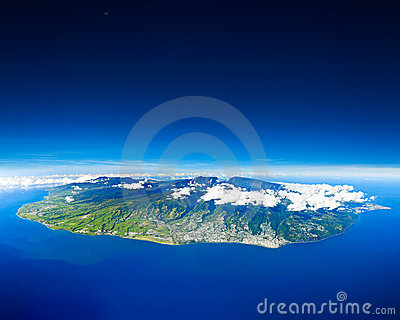 Aerial view of Reunion Island