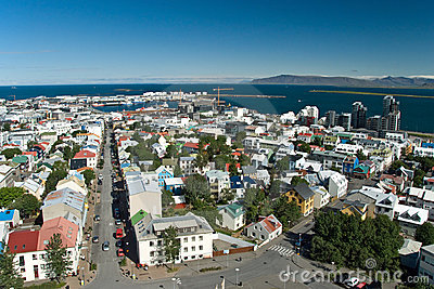 Aerial view of Reykjavik on Iceland