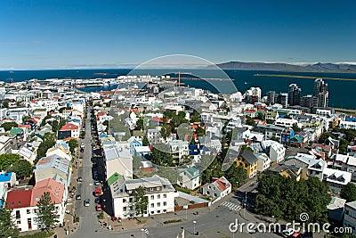 Aerial view of Reykjavik on Iceland