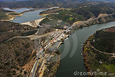 Aerial view of the river Guadiana