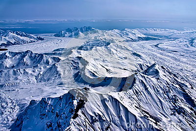Aerial View of a River of Ice Flowing to the Sea.