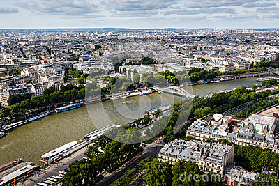 Aerial View on River Seine from the Eiffel Tower, Paris Editorial Photography