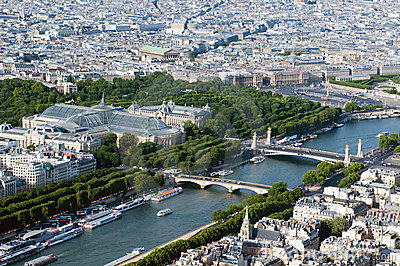 Aerial view on river Seine and Paris