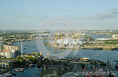 Aerial view of River Thames at Greenwich Editorial Photo
