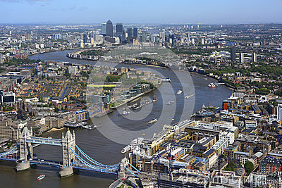 Aerial view River Thames between Tower Bridge and