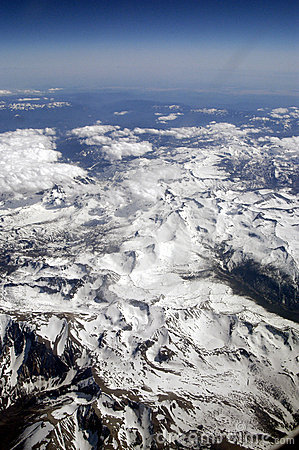 Aerial view of Rocky Mountains