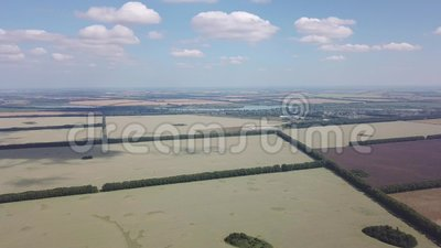 Aerial view rotating 360 degrees above the road in the middle of a large number of colorful fields planted with plants for agricul. Ture on a sunny autumn day stock video