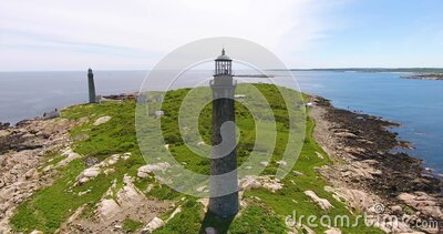 Thacher island lighthouses, Rockport, MA, USA stock video footage