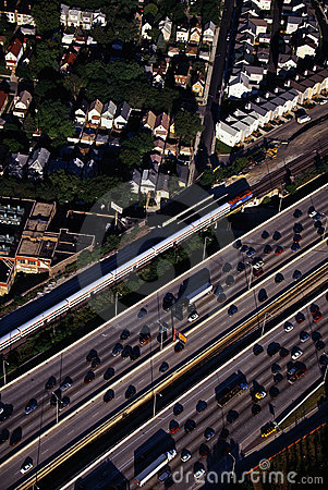 Aerial view of rush hour traffic in Chicago, IL Editorial Stock Photo