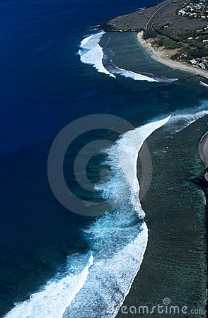 Aerial view of Saint Leu lagoon Reunion island