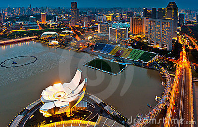 Aerial view of Singapore Marina Bay area Editorial Image