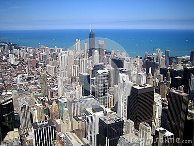 Aerial view of skyscrapers in city of Chicago, IL