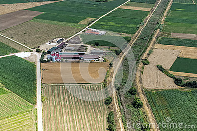 Aerial View Of A Small Cow Farm Stock Photo - Image: 31316540