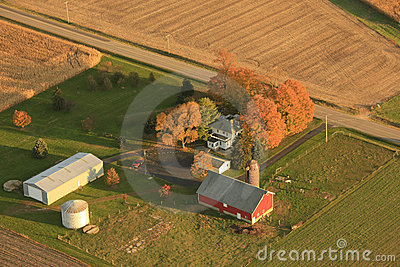 Aerial view of small farm
