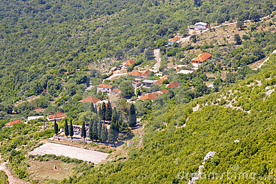 Aerial view on small  village in Montenegro