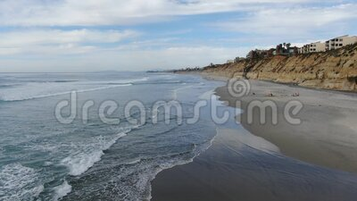 Aerial view of Solana Beach and cliff, California coastal beach with blue Pacific ocean. San Diego County, California, USA stock video footage