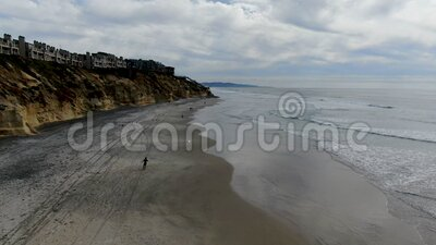 Aerial view of Solana Beach and cliff, California coastal beach with blue Pacific ocean. San Diego County, California, USA stock footage
