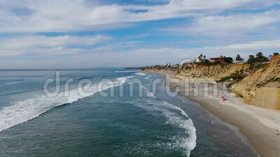 Aerial view of Solana Beach and cliff, California coastal beach with blue Pacific ocean. San Diego County, California, USA stock video