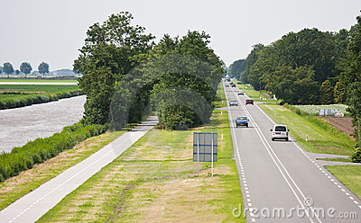 Aerial view of a straight  country road