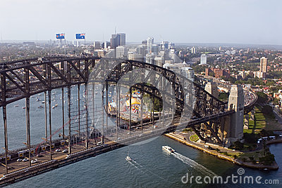 Aerial view of Sydney Harbor Bridge