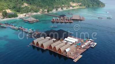 Aerial View Tegal Mas Island. This is a villa at Tegal mas Island, Lampung Indonesia, beautifull place for holiday stock video