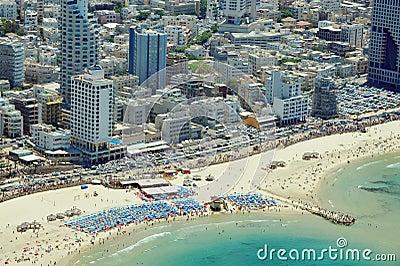 Aerial view of Tel-Aviv beach Editorial Photo