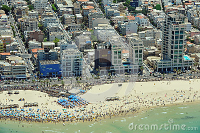 Aerial view of Tel-Aviv beach Editorial Photography