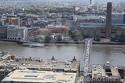 Aerial view with thames river, bridge and building Editorial Stock Image
