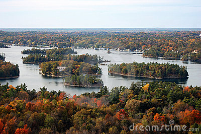 Aerial view of Thousand Islands in fall