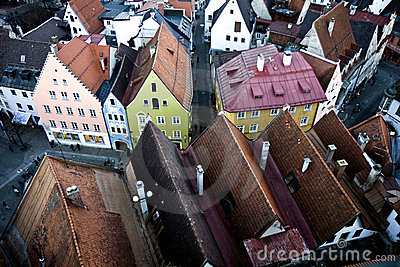 Aerial view to Fussen, Germany