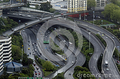 Aerial view of traffic on Auckland inner city road Editorial Photo