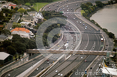 Aerial view of traffic on Auckland inner city road Editorial Photography