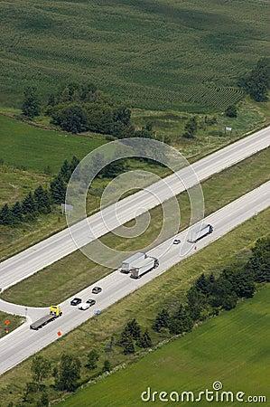 Aerial View Trucks Cars on Interstate Freeway