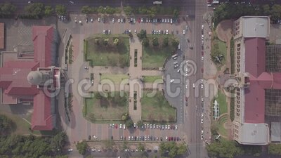 Aerial view of Tshwane City Hall and Ditsong National Museum of Natural History in the city center of Pretoria, South Africa. Aerial view of Tshwane City Hall stock video footage
