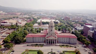 Aerial view of Tshwane city hall in Pretoria, South Africa. Africa stock video