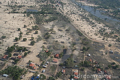 Aerial View of Tsunami Damage Editorial Stock Photo