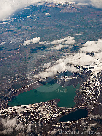 Aerial view on two lakes