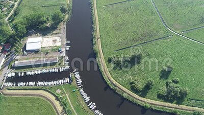 Ueckermünde city and harbor over the Szczecin reservoir stock video