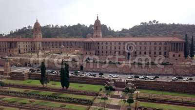 Aerial view of Union Buildings, Pretoria, South Africa. Aerial view of Union Buildings and Nelson Mandela park, Pretoria, South Africa stock video footage