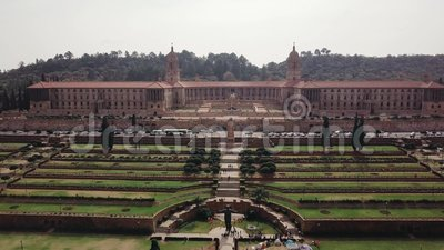 Aerial view of Union Buildings, Pretoria, South Africa. Aerial view of Nelson Mandela Garden and Union Buildings, Pretoria, South Africa stock video footage