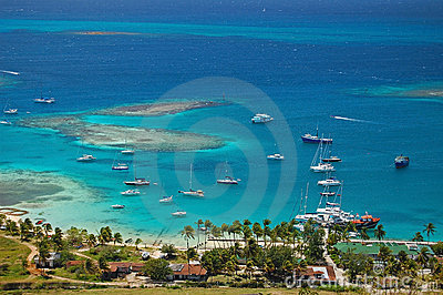 Aerial view of Union Island yacht club lagoon
