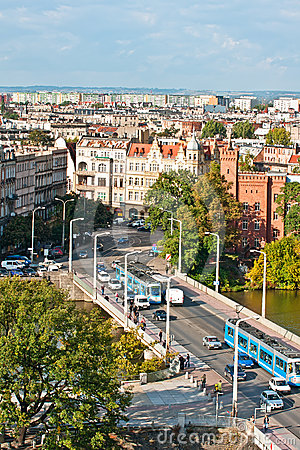 Aerial view of University bridge, Wroclaw, Poland Editorial Photography