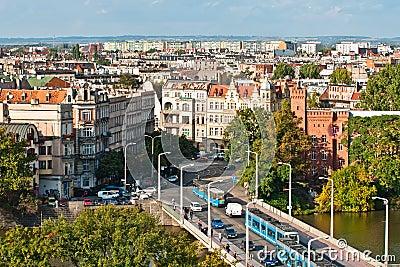 Aerial view of University bridge, Wroclaw, Poland Editorial Image