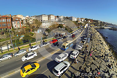 Aerial view of Uskudar - Harem Street in Istanbul