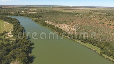 Aerial view of the Vaal river - South Africa. Aerial view of the Vaal river and associated farmland in the Northern Cape Province of South Africa stock video footage