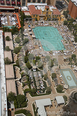 Aerial view on Venetian hotel roof placed swimming pool Editorial Stock Photo