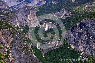 Aerial view of Vernal and Nevada falls in Yosemite