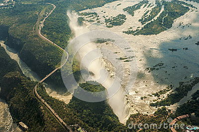 Aerial view of the Victoria Falls